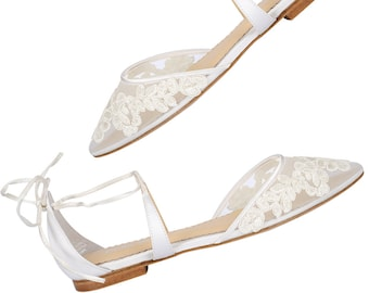 5075eeecd3c Comfortable lace ballet flat wedding shoes