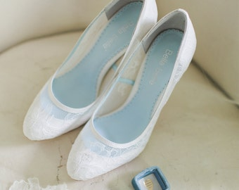 d16699765d0 Classic Chantilly Lace Wedding Shoes Closed Toe Pumps with Something Blue  Lining Bridal Shoes Bella Belle Shoes Millie