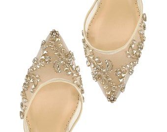 87fbfdd4d84e Comfortable Champagne and Gold Low Heel crystal embellished and beaded wedding  shoes with ankle straps Bella Belle Frances