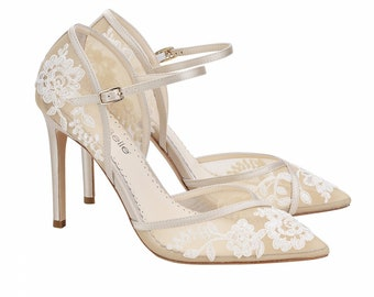 a0a368288 D Orsay Nude Lace Wedding Heel. Claudia Lace Nude Ivory Wedding Shoes