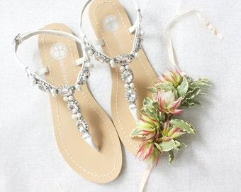 e9044396e Pearl Wedding Sandals Shoes with Something Blue Sole and Oval Jewel Crystals  for Beach or Destination Bella Belle Shoes Hera