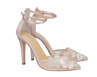 Blush Wedding Heel With Rose Gold Floral Embroidery By Claire Pettibone.  Flora Romantic Blush Wedding Shoe 744e5321b8ec