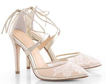 5504a3ee5bb7 Gold Alencon lace wedding shoes heels with ankle straps. classic lace  wedding heels Bella Belle Anita Gold