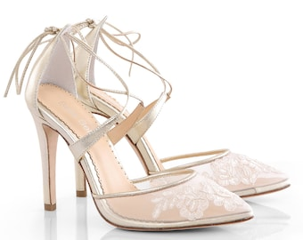 1af55c50b Gold Alencon lace wedding shoes heels with ankle straps. classic lace  wedding heels Bella Belle Anita Gold