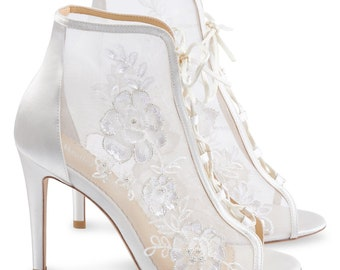c3a19b879f3 Victorian Era Inspired Ivory Lace Wedding Bootie. Angelina Vintage Ivory Lace  Wedding Shoe
