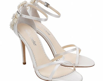 6ffbad51054ad2 3D Floral Luminous Pearls And Ivory Beads Wedding Heel Stiletto. Gardenia  Ivory Wedding Shoes