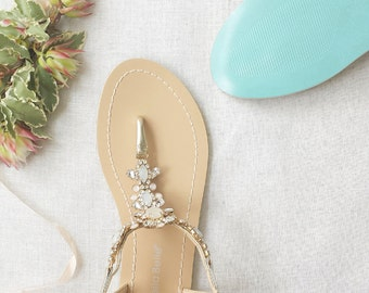 f1eb19adc8c Something Blue Sole Wedding Shoes Sandals with gold Jewel Crystal  Destination Beach Wedding Bohemian Bella Belle Luna
