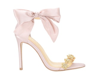 9522803a5dd5c9 Blush Wedding Shoes Pink Strappy Bridal Heels with Removable Gold Crystals  and Silk Bow. Bella Belle Evening Shoes Mariee Heels