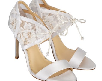 a4d19a02e51c4b Ivory Lace Embroidered Wedding Shoes with Pearl Beading - Handmade and  Romantic Bella Belle Grace