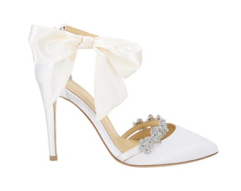 a660f292c Ivory Wedding Shoes Strappy Heels with Removable Silver Crystals and Silk  Bow. Bella Belle Bridal Heels Olivia Ivory