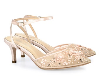 a570103587ea Blush Nude Pink Strappy Ankle Strap Beaded and Flower Embellished Kitten  Heel Wedding Shoes. Bridal Low Heels Bella Belle Rosa Blush