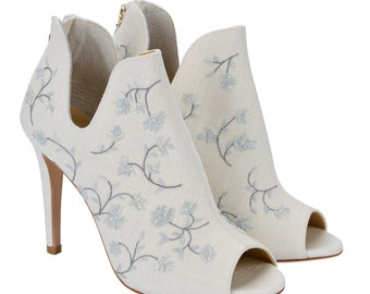 5a9315422b6d French Blue Flower Motif Embroidered Linen Ivory Wedding Bootie. Bella  Belle Wedding Shoes Peony Blue. AU 597.61