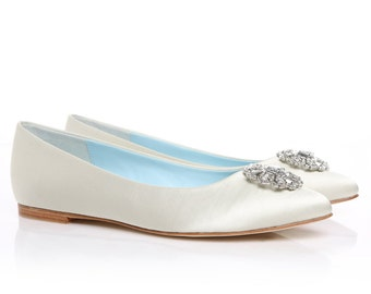 c54b98046f1 Beautiful Wedding Flats with Opal and Crystal Beading Bridal | Etsy