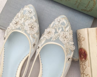 2057c40d2000 Beautiful Wedding Flats with Mesh and Flower Embroidery Beads Bridal Shoes  - Glass Slipper with  Something Blue  Bella Belle Shoes Adora