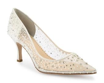 6ba8f6151147 Ivory Sequin Embellished Mesh Pointy Wedding Kitten Heel Pumps. Cinderella  Ivory Beaded Low Heels Bella Belle Evelyn Ivory