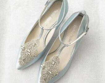 54e27e31528 Art Deco Something Blue Wedding Shoes Great Gatsby Crystal Applique T-Strap  Kitten Heel Silk Satin Bridal Shoes Bella Belle Annalise Blue