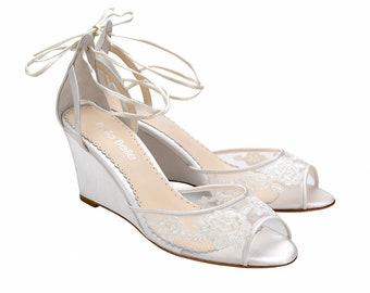cd72e9fd60af Ivory Floral Lace Wedge Wedding Heels. Pamela Ivory Lace Wedding Shoes