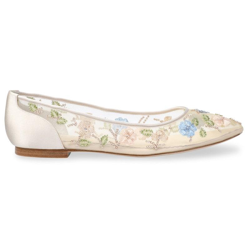 Flower Embellished Embroidered Wedding Flats Bella Belle Pippa