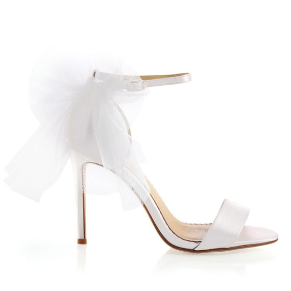Tulle Bow Strappy Ivory Wedding Shoes Classic And Simple Etsy