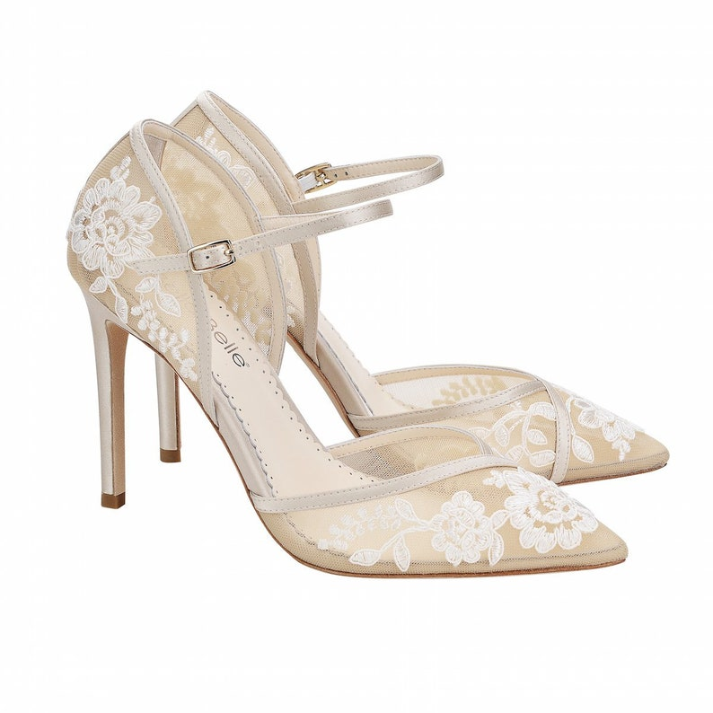 2dfe4d9d444 D'Orsay Nude Lace Wedding Heel. Claudia Lace Nude Ivory Wedding Shoes