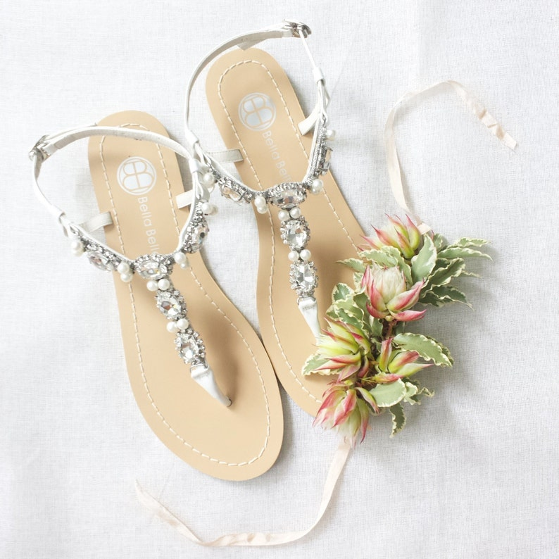 88a3bc5701e3 Pearl Wedding Sandals Shoes with Something Blue Sole and Oval