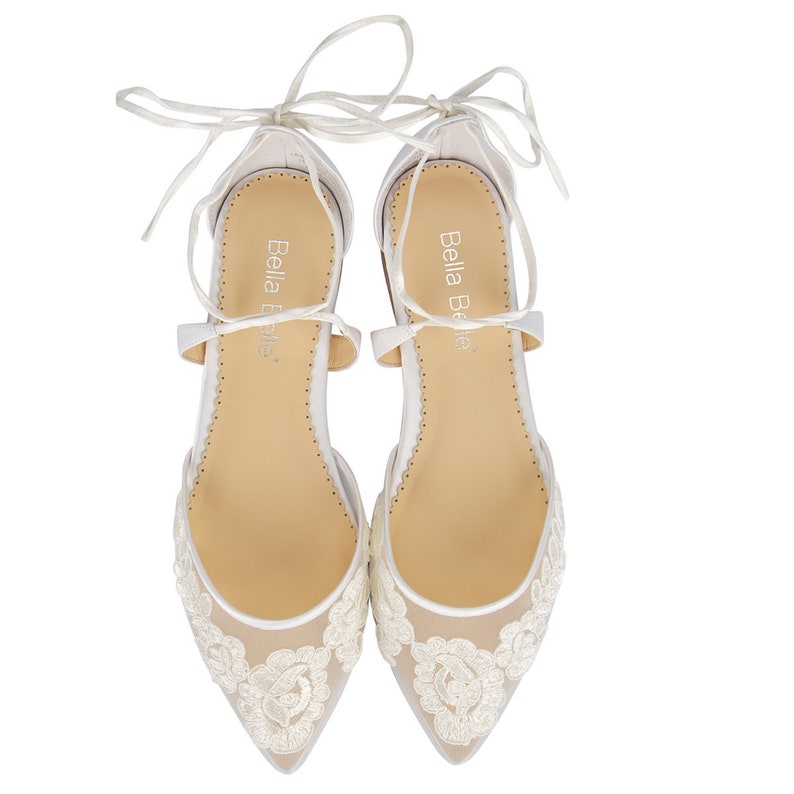 2d55ab5cfa0f Comfortable lace ballet flat wedding shoes strappy ballerina