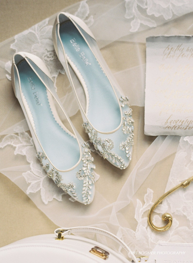 c9414b6a394 Beautiful Wedding Flats with Opal and Crystal Beading Bridal Shoes - Glass  Slipper with 'Something Blue' Bella Belle Willow