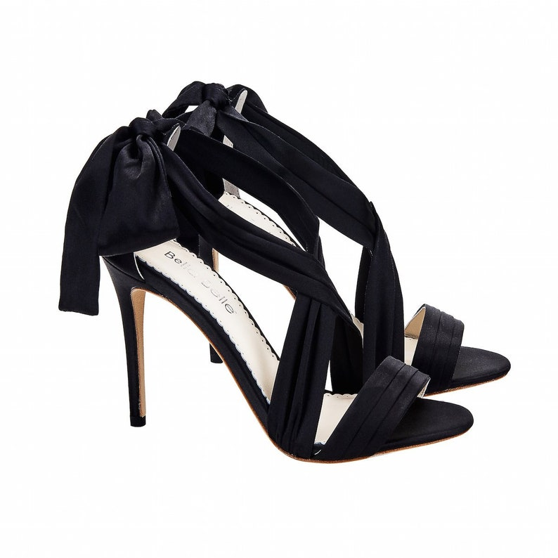 dddafbb02cf Criss Cross Black Silk And Bow Evening Heel. Kate Black Evening Shoes