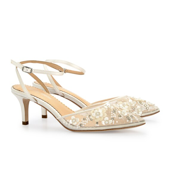 Ivory Strappy Ankle Strap Beaded and Flower Embellished Kitten Heel ... 945bb56f68
