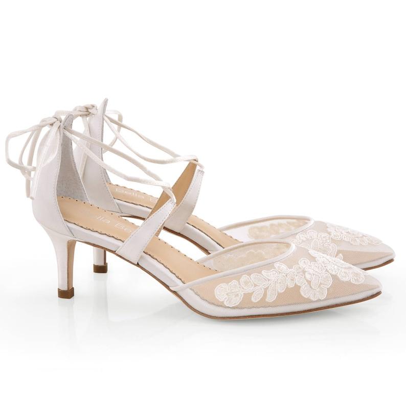 90110fca730 Classic Alencon lace comfortable low heels wedding shoes