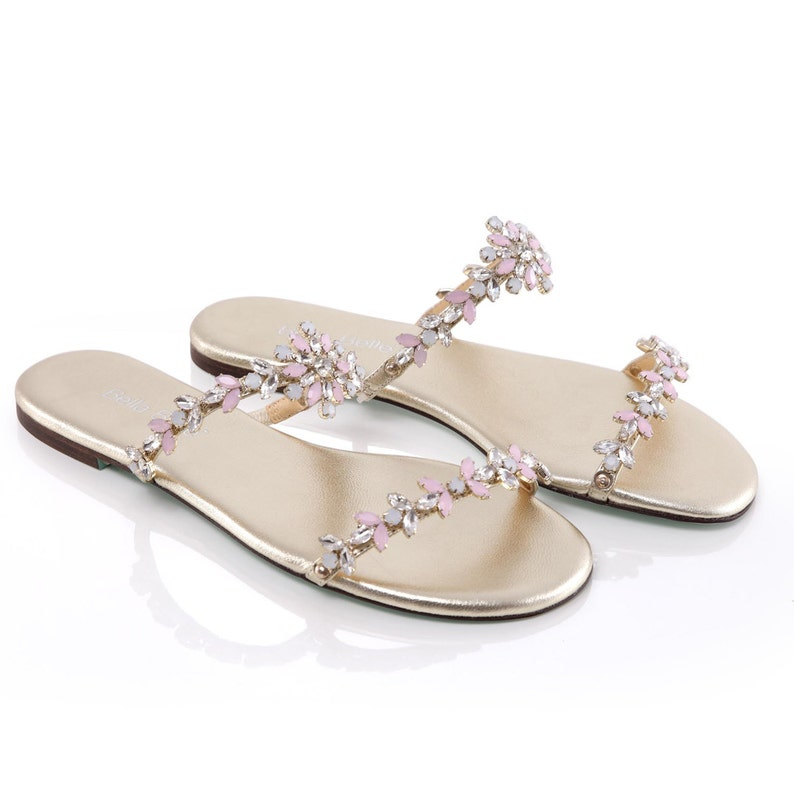 96251312294 Blush and Gold Crystal Bohemian Wedding Sandals Strappy Shoes