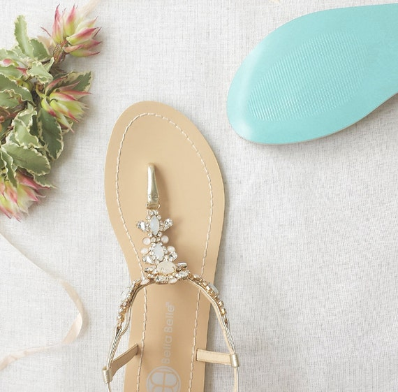 Something Blue Sole Wedding Shoes Sandals With Gold Jewel