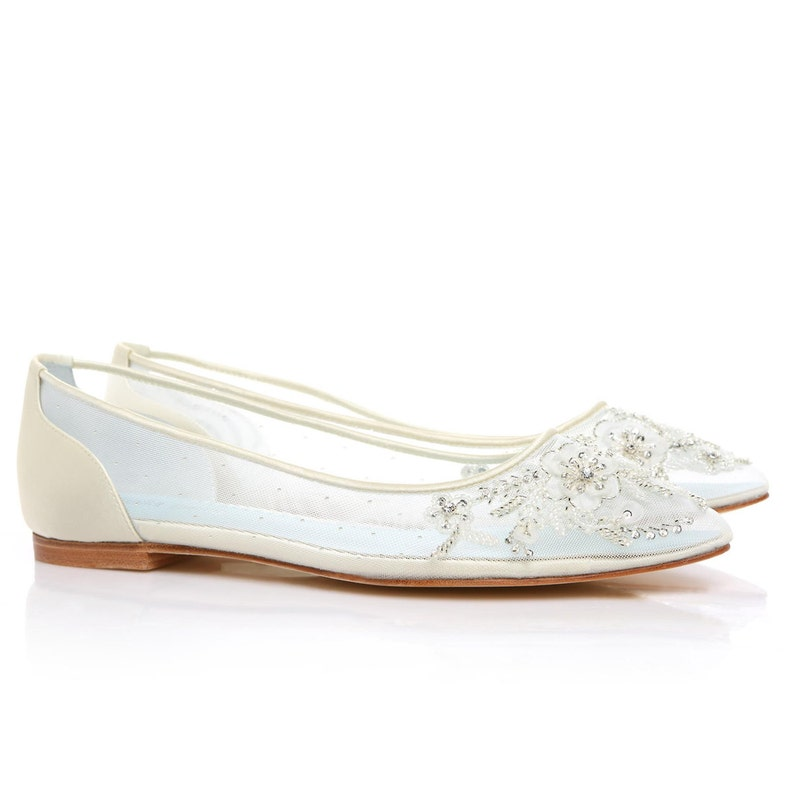3682a00b59f Beautiful Wedding Flats with Mesh and Flower Embroidery Beads Bridal Shoes  - Glass Slipper with 'Something Blue' Bella Belle Shoes Adora