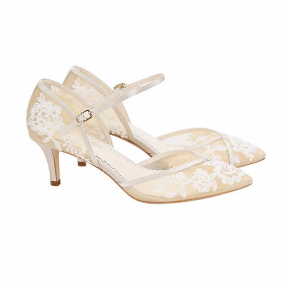 D Orsay Nude Lace Kitten Heel Candice Lace Ivory Wedding Etsy