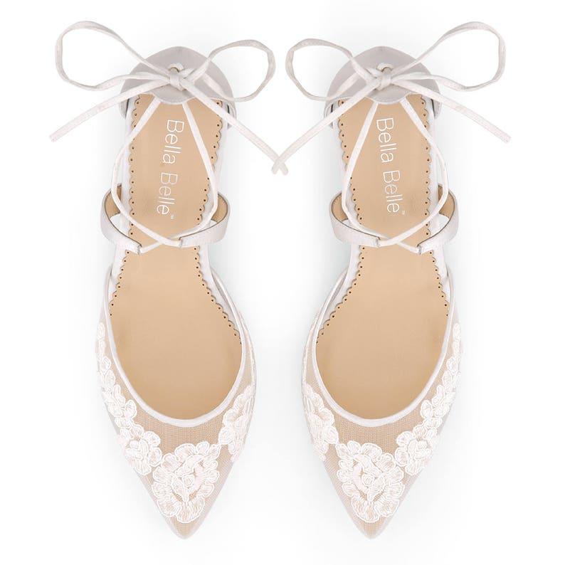 7ed20e9e3e9 Classic Alencon lace comfortable low heels wedding shoes, criss cross ankle  straps by Bella Belle Amelia