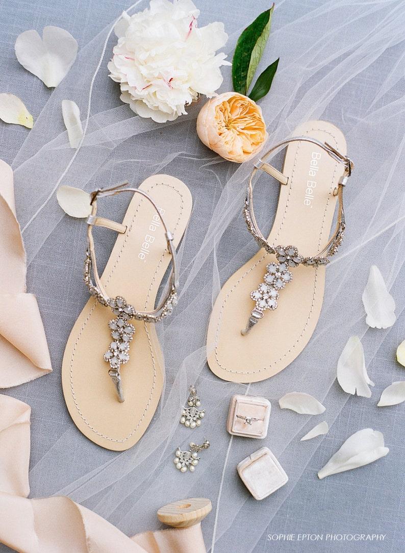 Silberne Blume Kristall Sandalen für Hochzeit am Strand image 0