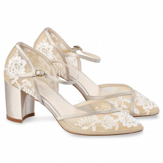 d65ae8d1092 D'Orsay Nude Lace Wedding Block Heel | Bella Belle Chelsea