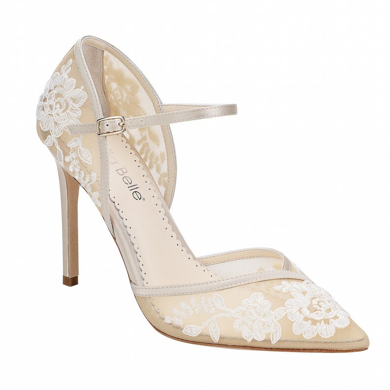 767b9406dd0 D Orsay Nude Lace Wedding Heel. Claudia Lace Nude Ivory