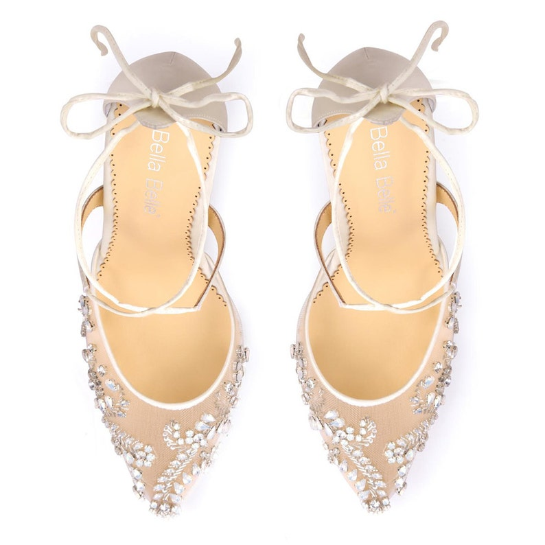 29e29d1213f Opal crystal embellished and beaded wedding shoes heels with ankle straps  Bella Belle Florence