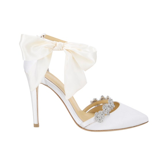 Ivory Wedding Shoes Strappy Heels with Removable Silver Crystals and Silk Bow. Bella Belle Bridal Heels Olivia Ivory
