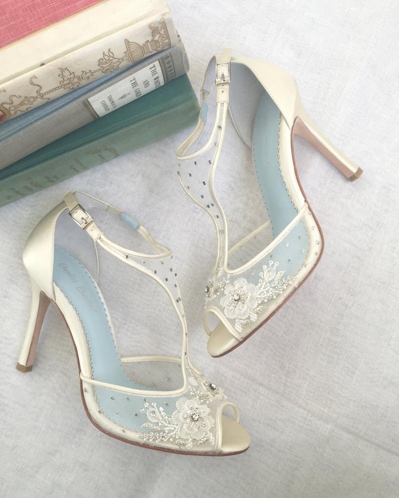 T-Strap-Hochzeit Schuhe mit Perlen und Blumen-Stickerei Mesh image 0