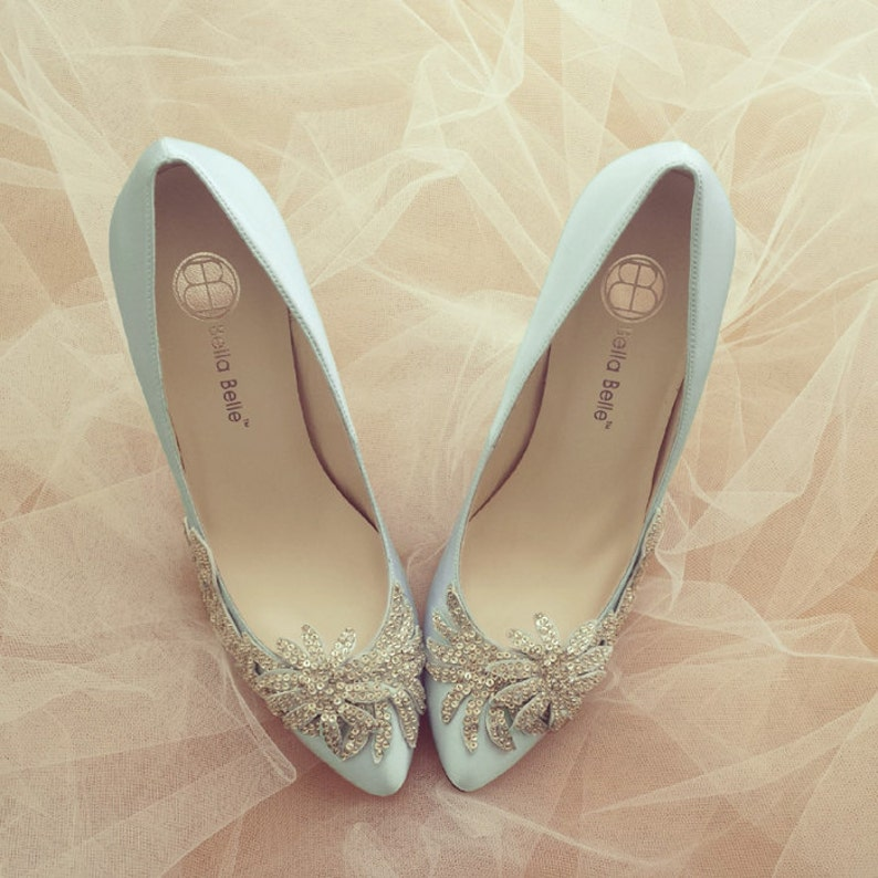 1289351613f4c2 Something Blue Wedding Shoes with Crystal Vine Applique