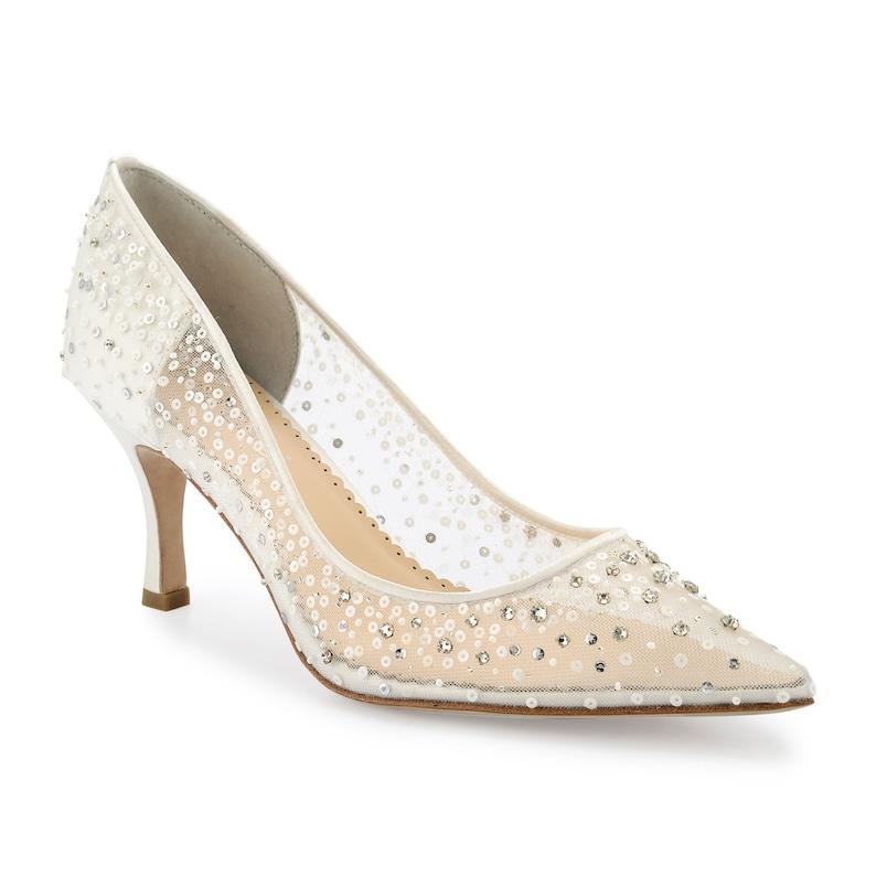 32c0d5ef1cb Ivory Sequin Embellished Mesh Pointy Wedding Kitten Heel