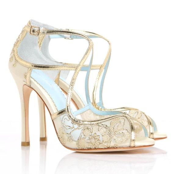 Hochzeit Schuhe Gold Gestickten Spitze Und Elfenbein Seide Etsy