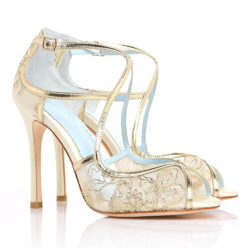 Wedding Shoes Gold Embroidered Lace and Ivory Silk Criss Cross  ed5ac5ec1