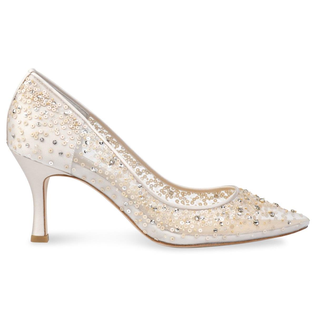 01828504e8b Nude Sequin Low Heel Wedding Shoes | Bella Belle Evelyn Nude