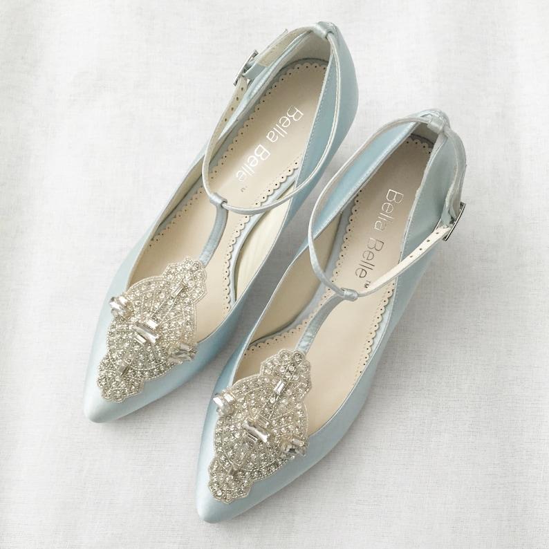 db78f6f9b63 Art Deco Something Blue Wedding Shoes Great Gatsby Crystal Applique T-Strap  Kitten Heel Silk Satin Bridal Shoes Bella Belle Annalise Blue