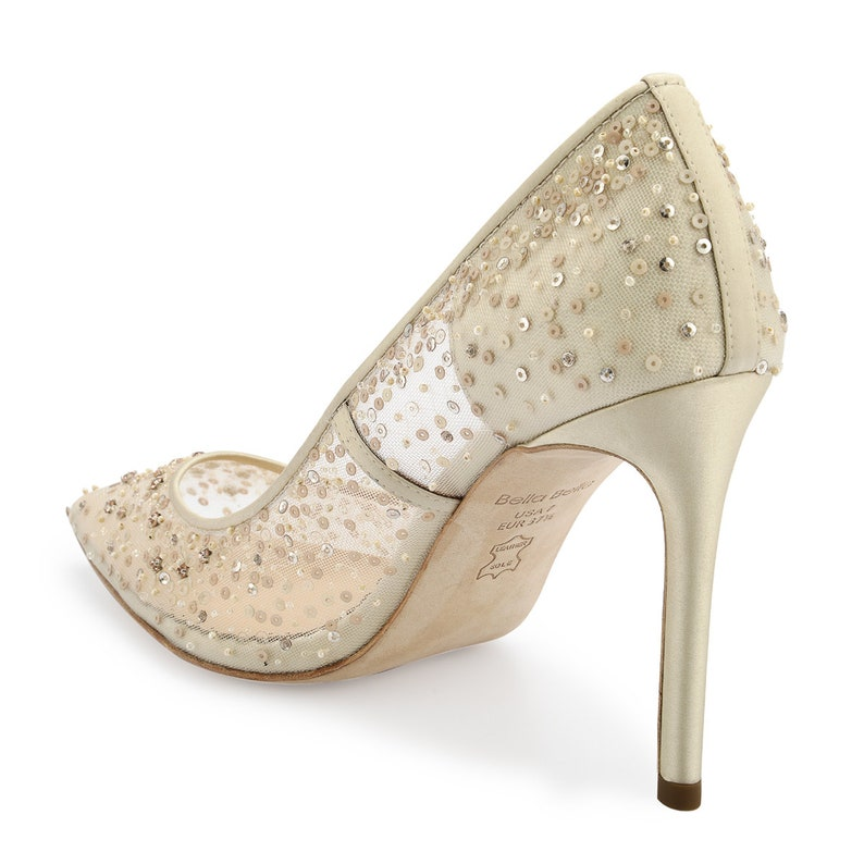 75397f32b4c Nude Sequin Embellished Mesh Pointy Pumps. Sexy Beaded Evening