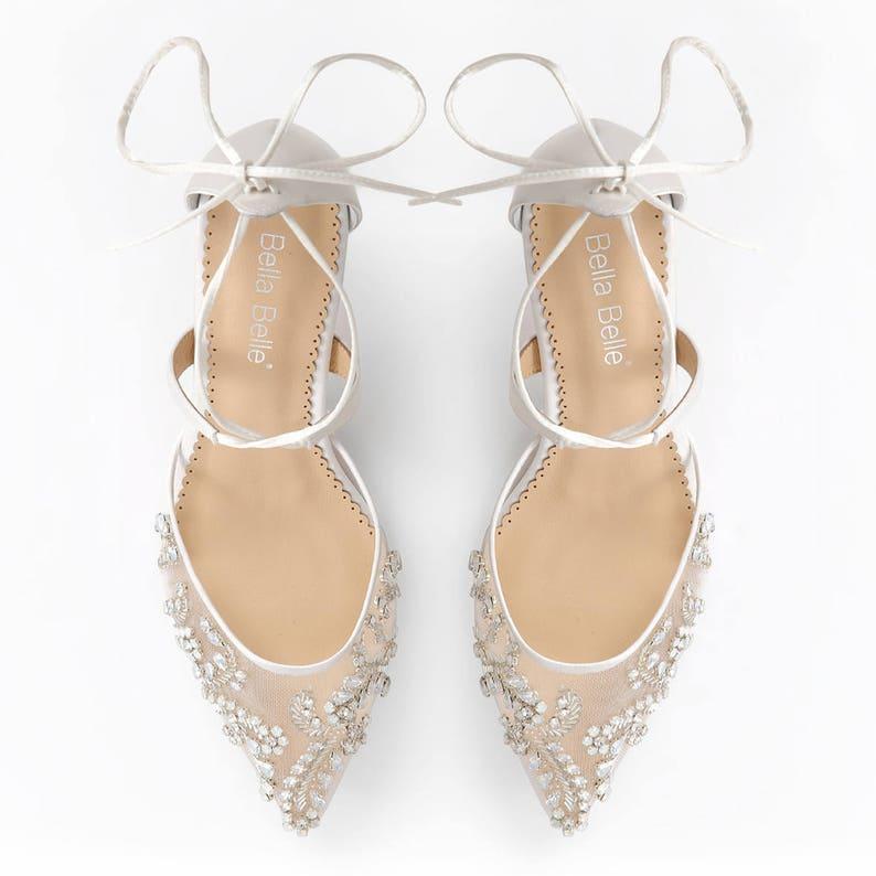 25ed0c67d8f9 Low Heel Comfortable crystal embellished and beaded wedding