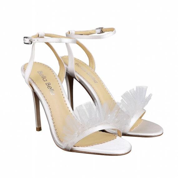 Polka Dot And Pleated Tulle Ivory Wedding Heel Bridget Ivory Etsy